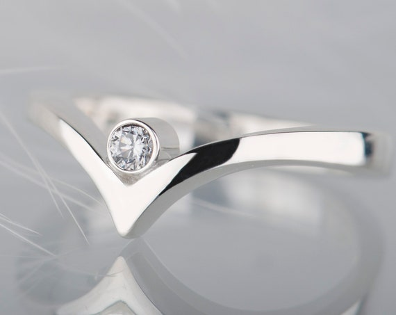 Sterling silver diamond, moissanite or white sapphire ring
