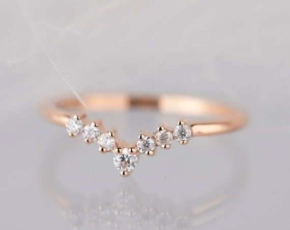 14K rose gold diamond, moissanite or white sapphire chevron wedding band
