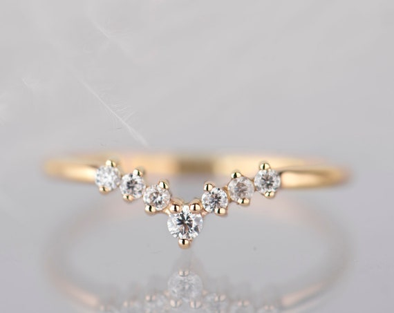 14K yellow gold diamond, moissanite or white sapphire chevron wedding band