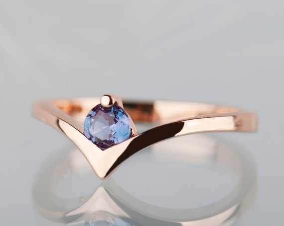 14K rose gold alexandrite engagement ring, Alexandrite chevron wedding ring