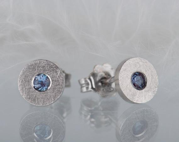 Minimalist sterling silver alexandrite stud earrings
