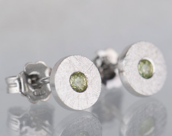 Dainty sterling silver peridot stud earrings, Minimalist modern peridot jewelry