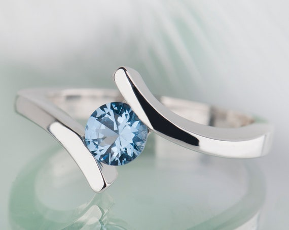 Silver aquamarine engagement ring or promise ring, March birthstone bypass ring