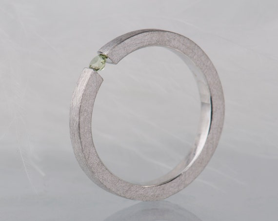 Peridot sterling silver tension ring, Dainty gamstone promise ring for her, Simple alternative engagement ring