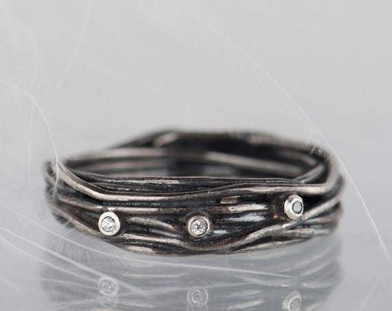 Sterling silver diamonds organic ring