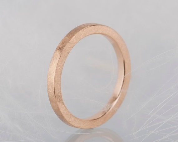 14K rose gold wedding band, Simple and minimalist rose gold ring