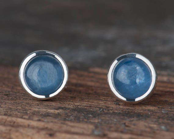 Simple round stud earrings with stone: Kyanite, Labradorite, Agate, Amethyst or Amber