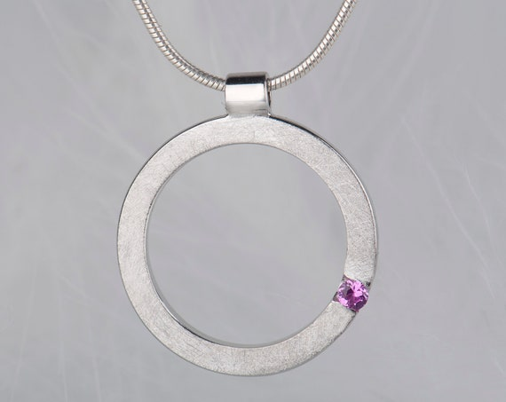 Dainty geometric pink ruby pendant necklace, Sterling silver birthstone necklace