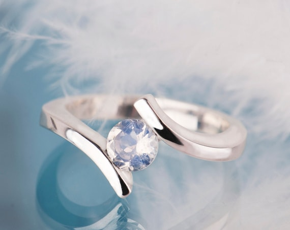 Bypass moonstone engagement ring, Sterling silver blue moonstone promise ring for her