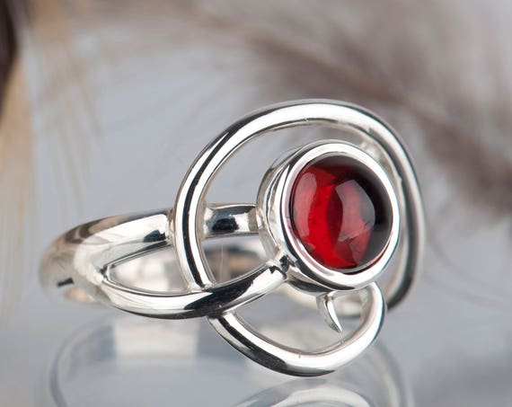 Sterling Silver Garnet Ring, Engagement Garnet Ring, Unique Silver Ring for Women
