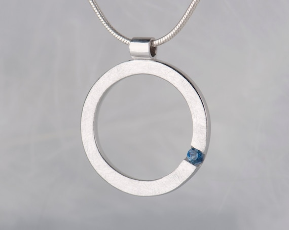 Minimalist sapphire pendant necklace, Sterling silver birthstone chain necklace, Anniversary or birthday gifts for her idea