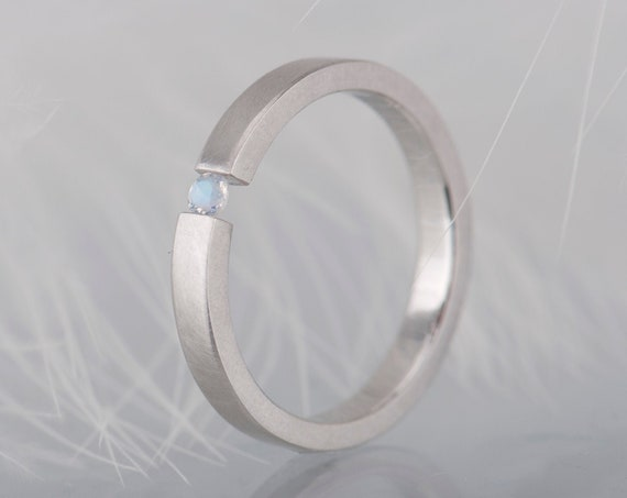 White gold moonstone ring, Alternative engagement ring, Geometric moonstone jewelry