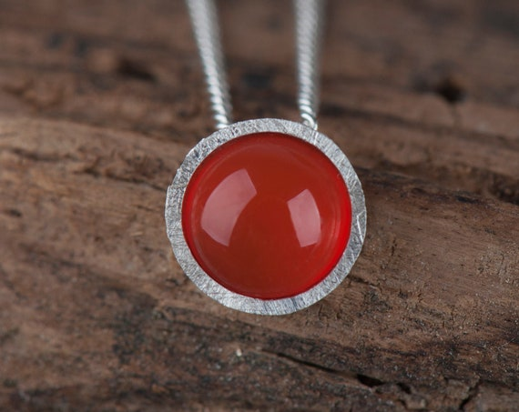 Sterling silver carnelian pendant necklace, Dainty orange stone chain necklace