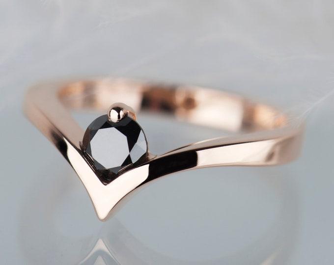 Black diamond rose gold engagement ring, 14K gold diamond rings for women, Minimalist alternative engagement solitaire ring