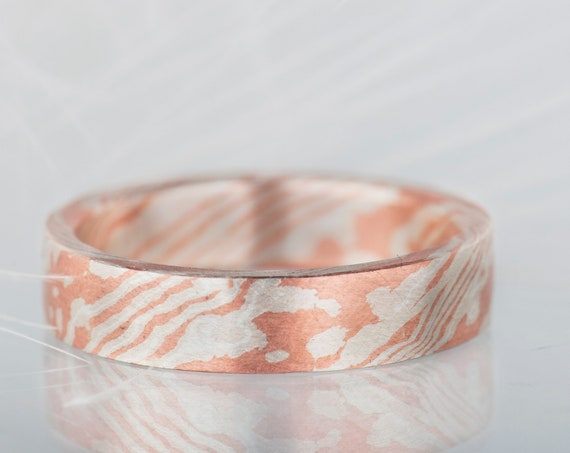 Unusual mokume gane band, Minimalist mokume gane ring