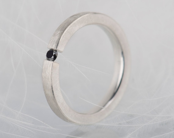 Sterling silver black diamond ring, Alternative simple promise ring