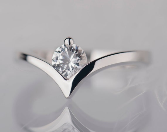 Sterling silver white sapphire chevron promise or engagement ring for her