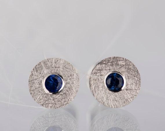 Dainty sterling silver blue sapphire small stud earrings