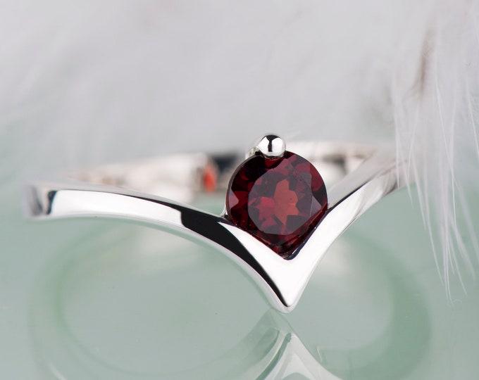 Red garnet simple engagement ring, Chevron sterling silver rings for women, January birthstone promise ring for her