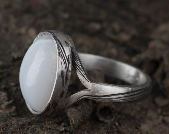 Alternative engagement mokume gane ring