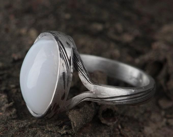 Alternative engagement, ring, Mokume gane rings, Simple chalcedon engagement ing, Boho engagement ring