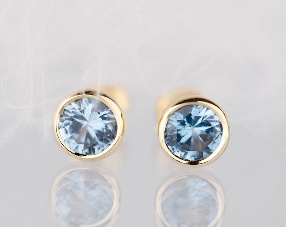 14K gold aquamarine stud earrings, Minimalist wedding March birthstone earrings