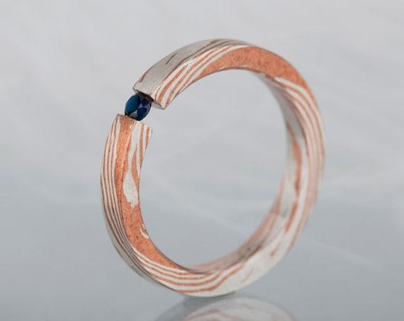 Mokume gane blue sapphire ring, Alternative simple engagement ring or promise ring for her