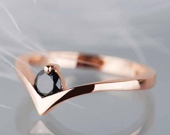 14K rose gold black diamond engagement ring, Minimalist chevron promise ring for her