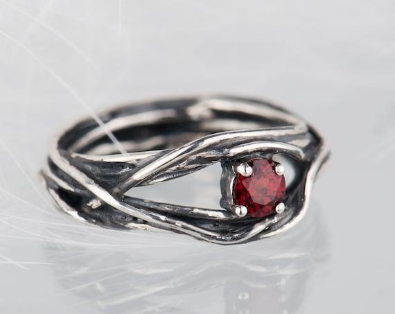 Sterling silver garnet organic ring