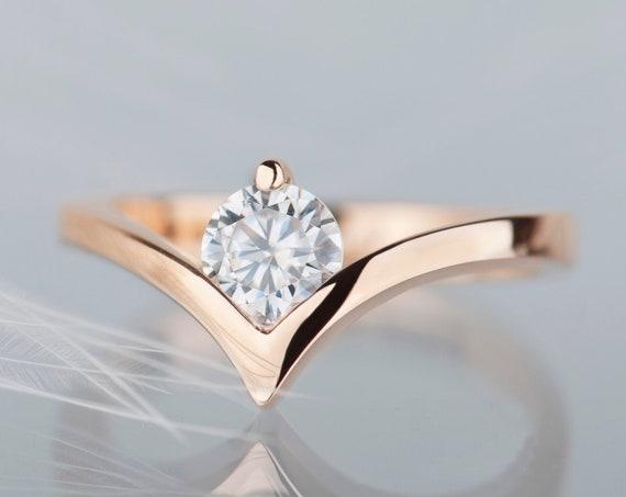 14K rose gold moissanite chevron engagement ring