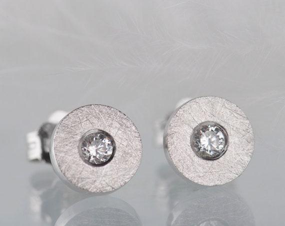 Minimalist sterling silver diamond or zircon stud earrings