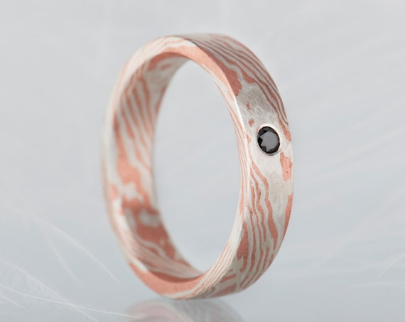 Black diamond mokume gane band, Unusual minimalist mokume gane ring