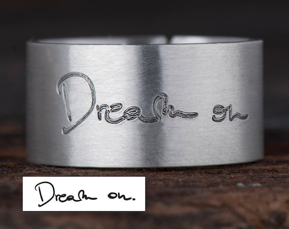 Handwritten Ring, Personalized Signature Ring, Memorial Signature Ring, Handwriting Ring, Custom Handwriting Ring, Name Ring, Baby Name Ring
