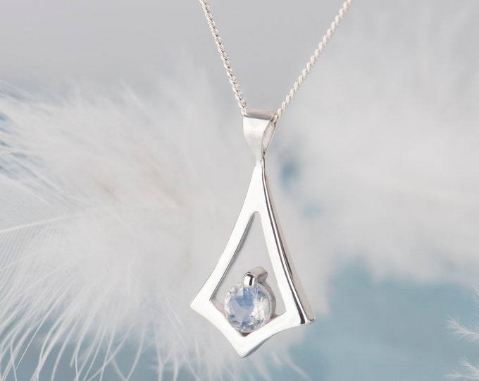 Minimalist moonstone necklace, June birthstone dainty necklace