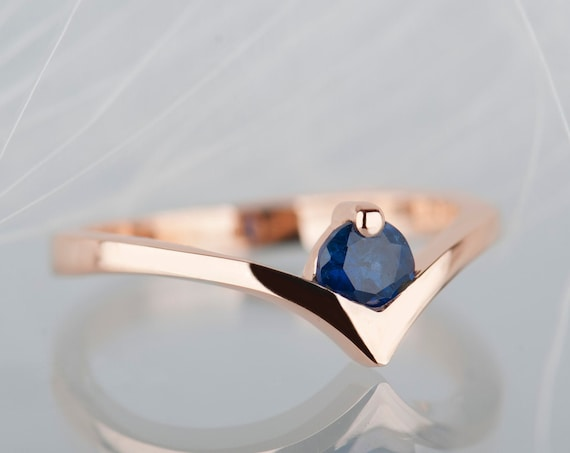 14K rose gold sapphire engagement ring, Blue sapphire chevron wedding ring