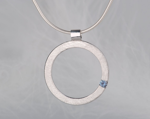 Minimalist sterling silver alexandrite pendant necklace
