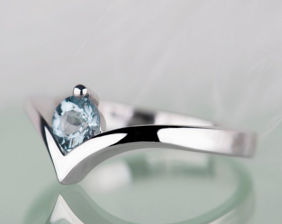 14K gold aquamarine engagement ring, March birthstone simple engagement rings for women, Minimalist aquamarine jewelry