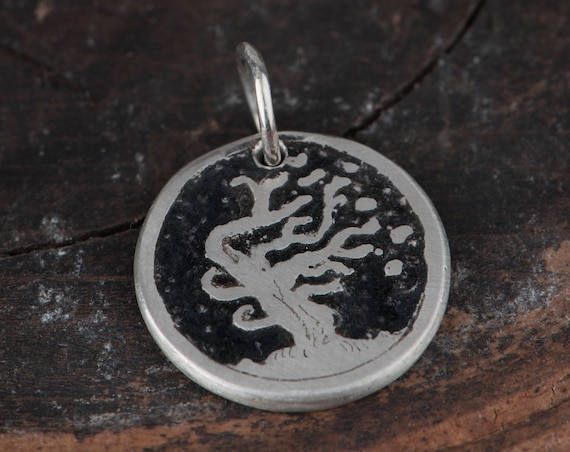 Silver Charm Bracelet With Tree, Wax Cord Charm Bracelet, Handmade Charm with Tree, Unique Gift for Her