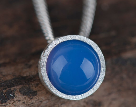 Blue agate tiny necklace, blue stone dainty pendant