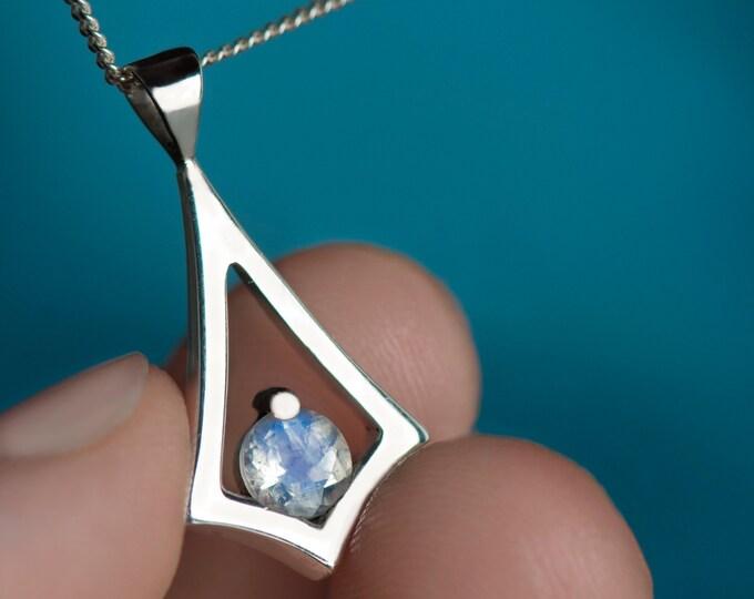 Minimalist moonstone necklace,