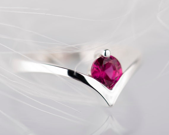 Sterling silver ruby promise ring for her
