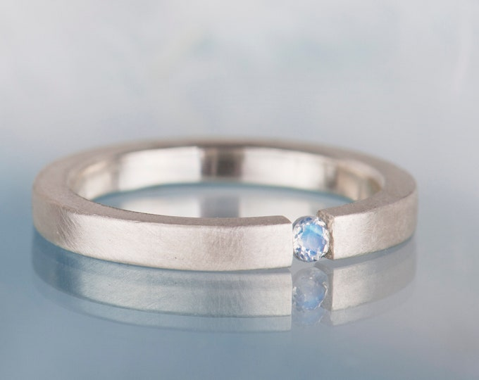 Dainty moonstone ring, Minimalist rainbow moonstone ring for women, Something blue for the bride, June birthstone jewelry