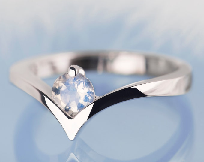 Moonstone engagement ring, Moonstone ring, White gold moonstone ring, Minimalist engagement ring, Promise Ring for Her