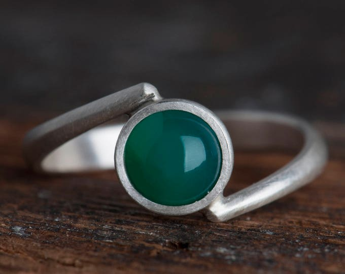 Green Agate Ring, Green Gemstone Ring Sterling Silver, Green Stone Ring for Women, Simple Ring for Women