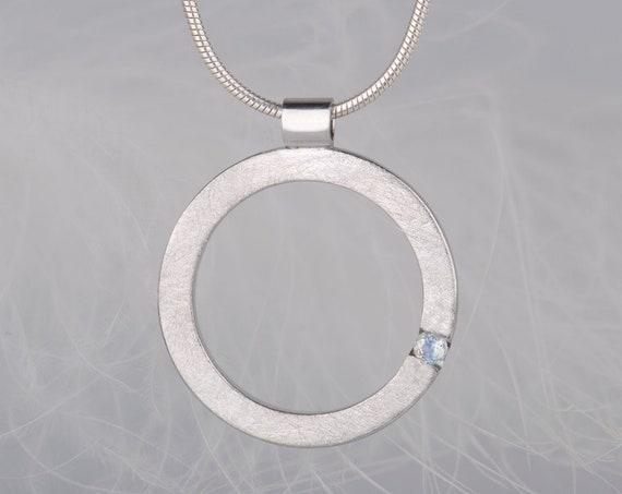 Minimalist sterling silver moonstone pendant necklace