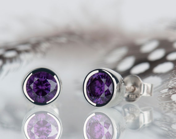 Amethyst earrings, february birthstone earrings, first communion gift, gemstone earrings, amethyst studs, dainty earrings, tiny stud earring