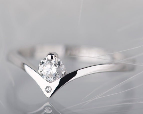 14K white gold diamond engagement ring, Diamond chevron wedding ring