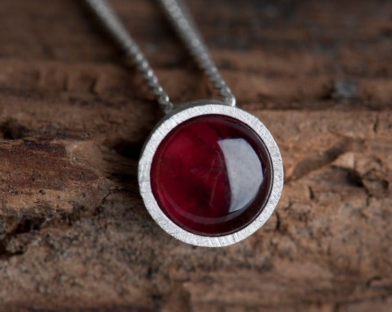 Bohemian garnet pendant necklace, January birthstone necklace