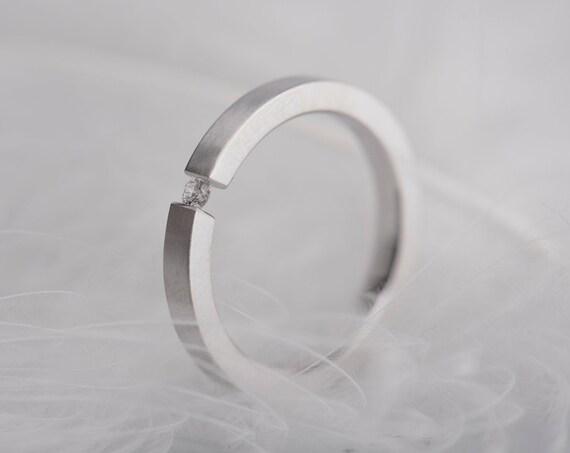 14K white gold diamond alternative engagement ring