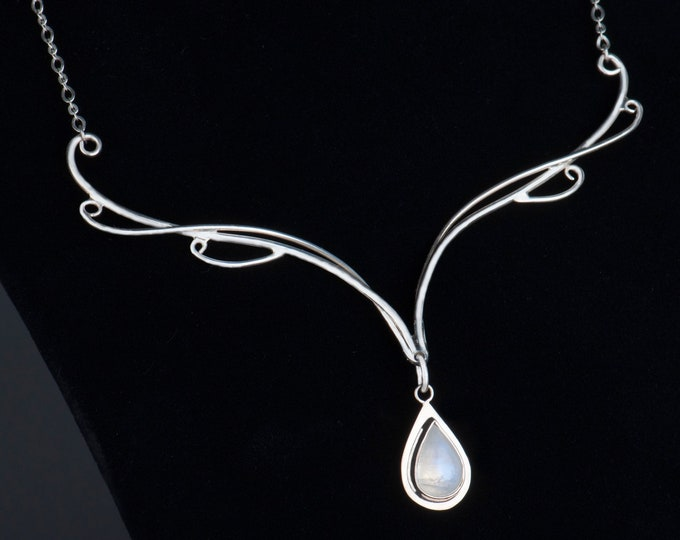 Moonstone bridal necklace sterling silver, Moonstone necklace, LOTR wedding, Free shipping